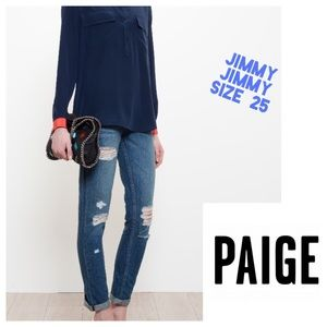 NWOT Paige Jimmy Jimmy Distressed Jeans. Sz 25